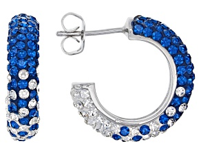 Pre-Owned Preciosa Crystal Blue And White Hoop Earrings