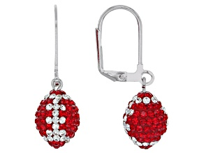 Pre-Owned Preciosa Crystal Red And White Football Dangle Earrings