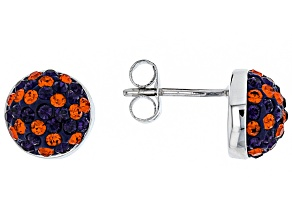 Pre-Owned Preciosa Crystal Orange And Purple Stud Earrings
