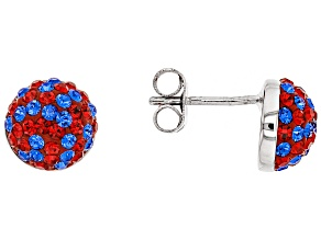 Pre-Owned Preciosa Crystal Red And Blue Stud Earrings