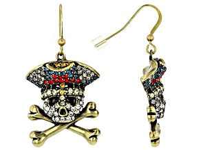 Pre-Owned Mulitcolor Crystal Antiqued Bronze Tone Skull And Cross-bone Earrings