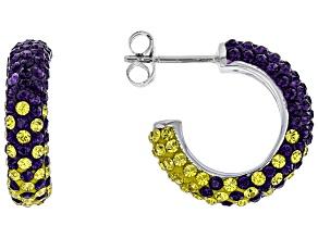 Pre-Owned Preciosa Crystal Purple And Gold Hoop Earrings