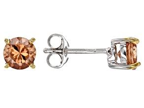 Pre-Owned Cognac zircon sterling silver stud earrings 1.53ctw