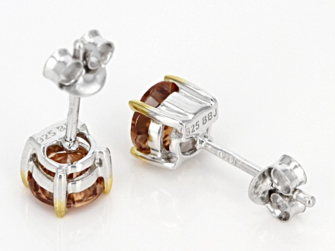 Pre-Owned Cognac zircon sterling silver stud earrings 1.53ctw