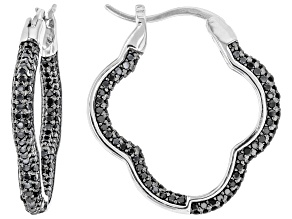 Pre-Owned Black Spinel Rhodium Over Sterling Silver Earrings 1.48ctw