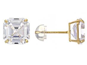 Pre-Owned White Cubic Zirconia 14k Yellow Gold Asscher Cut Stud Earrings 2.52ctw