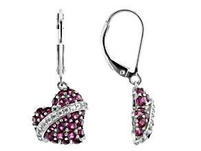 Pre-Owned Purple rhodolite rhodium over sterling silver heart dangle earrings 1.88ctw