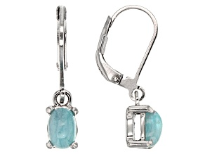 Pre-Owned Blue Paraiba Tourmaline Cabochon Sterling Silver Earrings .85ctw