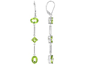 Pre-Owned Oval and Square Manchurian Peridot(TM) Rhodium Over Silver Earrings. 5.61ctw