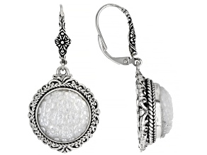 Pre-Owned White Carved Mother-of-Pearl Silver Flower Earrings
