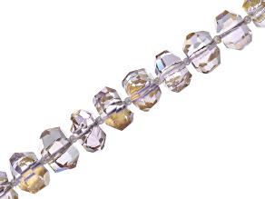Pre-Owned Gold Foil Rose de France Amethyst Appx 7-12mm Faceted Irregular Rondelle Bead Strand Appx