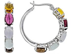 Pre-Owned Multi-gemstone rhodium over silver hoop earrings
