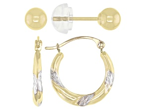 Pre-Owned 10K Yellow Gold with Rhodium Accent Scallop Tube Hoop and 10K Yellow Gold Ball Stud Earrin