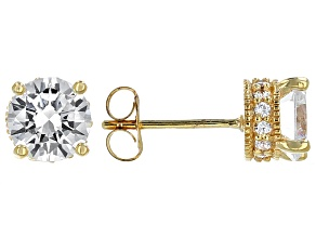 Pre-Owned Cubic Zirconia 18k Yellow Gold Over Sterling Silver Earrings 3.59ctw