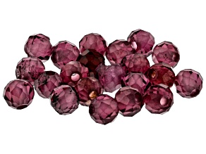 Pre-Owned YouTube Only Appx 2mm Faceted Round Garnet Beads Appx 20 Pieces