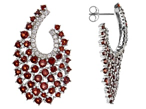 Pre-Owned Round Red Garnet  Rhodium Over Sterling Silver Earrings 6.65ctw
