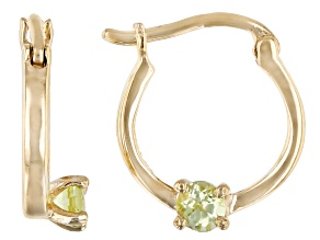 Pre-Owned Green Peridot 10k Yellow Gold Children's Hoop Earrings .07ctw
