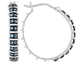 Pre-Owned Blue Diamond Rhodium Over Sterling Silver Hoop Earrings 0.60ctw