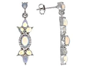 Pre-Owned Multicolor Ethiopian Opal Rhodium Over Sterling Silver Dangle Earring 2.35ctw