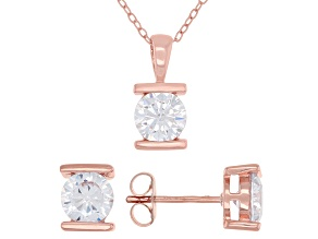 Pre-Owned White Cubic Zirconia 18K Rose Gold Over Sterling Silver Pendant With Chain And Earrings 4.