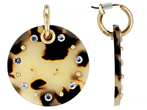 Pre-Owned Tortoise Shell Pattern Resin And White Crystal Gold Tone Earrings