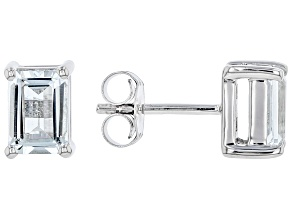 Pre-Owned Aquamarine Rhodium Over Sterling Silver Stud Earrings 1.40ctw