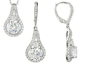 Pre-Owned Cubic Zirconia Rhodium Over Sterling Silver Pendant And Earrings 12.43ctw