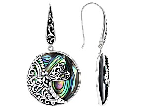 Pre-Owned Pacific Style™ 25mm Round Abalone Shell with Dragonfly Rhodium Over Sterling Silver Earrin