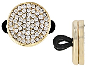 Pre-Owned Gold Tone White Crystal Pave Button Mask Holder for Glasses