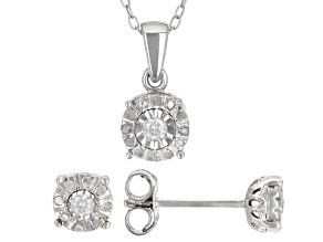 Pre-Owned White Diamond Rhodium Over Sterling Silver Earrings And Pendant Jewely Set 0.20ctw