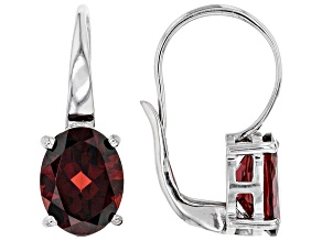 Pre-Owned Red Garnet Rhodium Over Sterling Silver Earrings 3.57ctw