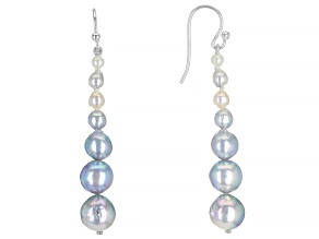 Pre-Owned White & Silver Cultured Japanese Akoya Pearl Rhodium Over Sterling Silver Dangle Earrings