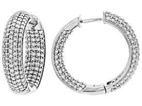 Pre-Owned White Diamond 10K White Gold Inside-Out Hoop Earrings 2.30ctw