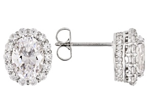 Pre-Owned White Cubic Zirconia Rhodium Over Sterling Silver Earrings 5.16ctw