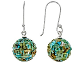 Pre-Owned Carved Turquoise Rhodium Over Sterling Silver Earrings