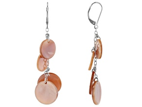 Pre-Owned Mother-of-Pearl Sterling Silver 4 Stone Drop Earrings