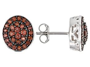 Pre-Owned Red Garnet Rhodium Over Sterling Silver Stud Earrings 1.01ctw