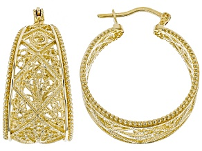 Pre-Owned 18k Yellow Gold Over Silver Filigree Hoop Earrings