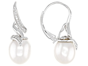 Pre-Owned White Cultured Freshwater Pearl With Diamond Accent Rhodium Over Sterling Silver Earrings