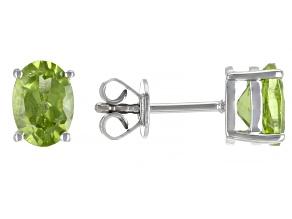 Pre-Owned Green Peridot Sterling Silver Stud Earrings 1.30ctw