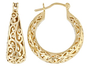 Pre-Owned 18k Yellow Gold Over Sterling Silver Hoop Earrings