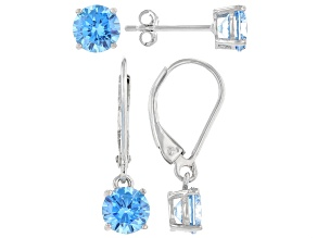 Pre-Owned Blue Cubic Zirconia Rhodium Over Sterling Silver Earring Set 5.17ctw