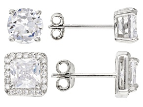 Pre-Owned White Cubic Zirconia Rhodium Over Sterling Silver Stud Earrings Set 3.72ctw