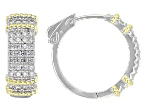 Pre-Owned White Cubic Zirconia Rhodium And 14K Yellow Gold Over Sterling Silver Earrings 1.73ctw