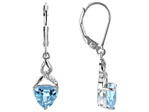 Pre-Owned Blue Topaz Rhodium Over Silver Earrings 2.55ctw