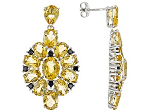 Pre-Owned Citrine Rhodium Over Sterling Silver Earrings 9.45ctw