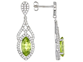 Pre-Owned  Peridot Rhodium Over Silver Dangle Earrings 2.90ctw