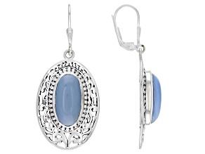Pre-Owned Blue Opal Sterling Silver Filigree Design Dangle Earrings
