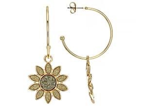 Pre-Owned Gold Tone Sunflower Shimmer Hoop Earrings