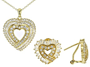 Pre-Owned White Cubic Zirconia 18K Yellow Gold Over Silver Heart Pendant With Chain & Earrings Set